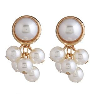 *COLLIER* Gold x Pearl Dangle Stud Earrings